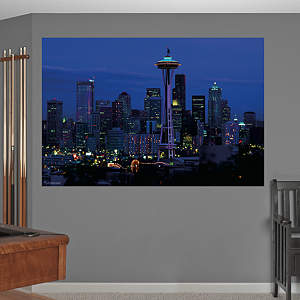 Seattle Skyline By Night Mural Fathead Wall Decal